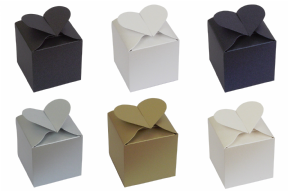 Pearlescent Heart Top Wedding / Party Favour Boxes - Choose Colour - Choose QTY